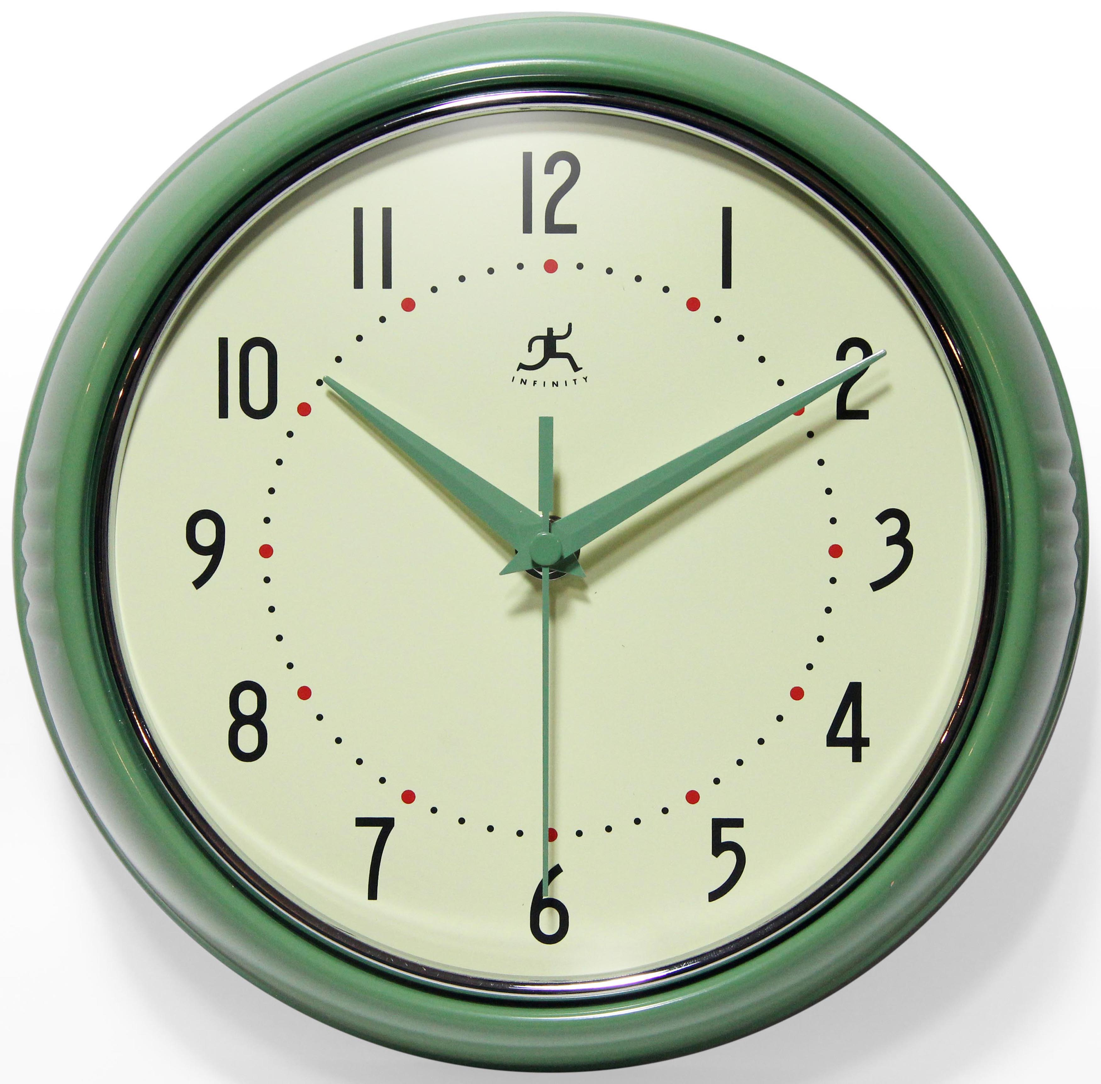 Details About Infinity Instruments Round Green Retro Indoor Wall Clock 1 Pack